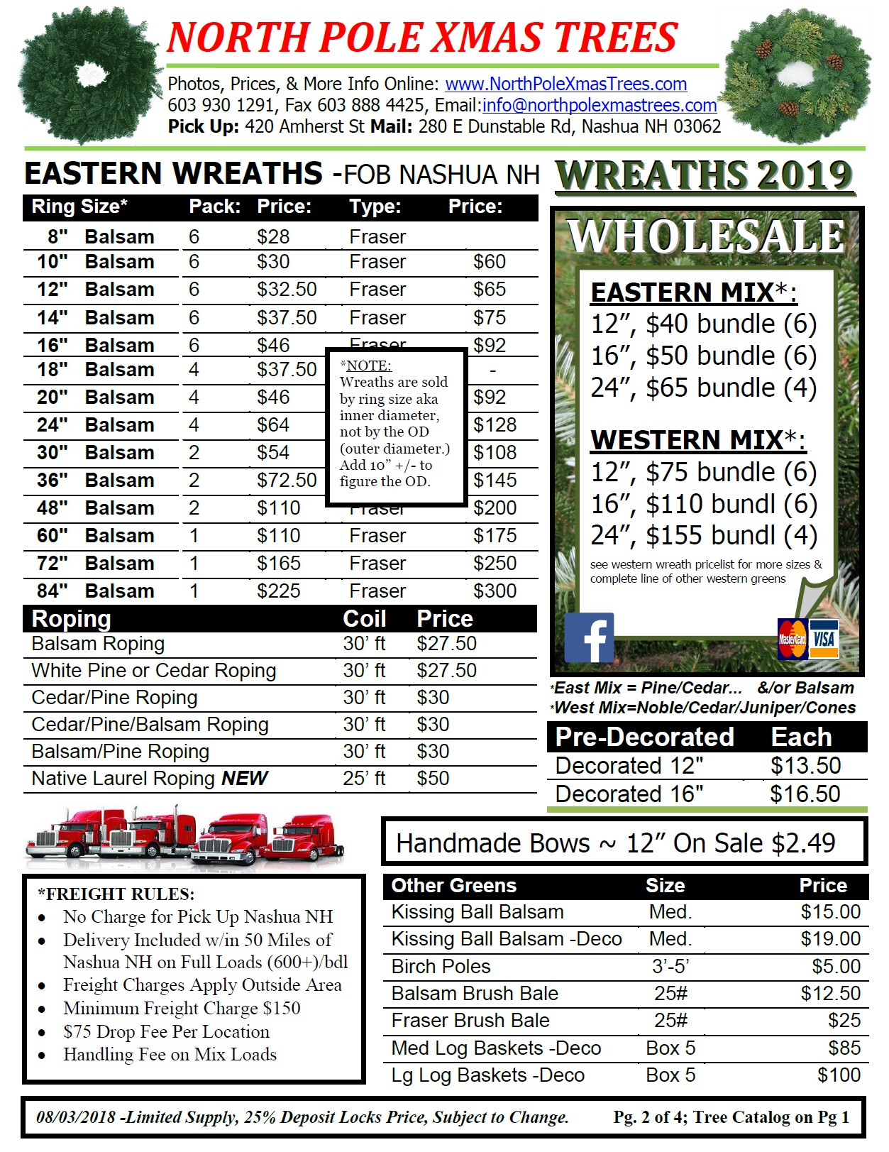 wholesale balsam wreath price list