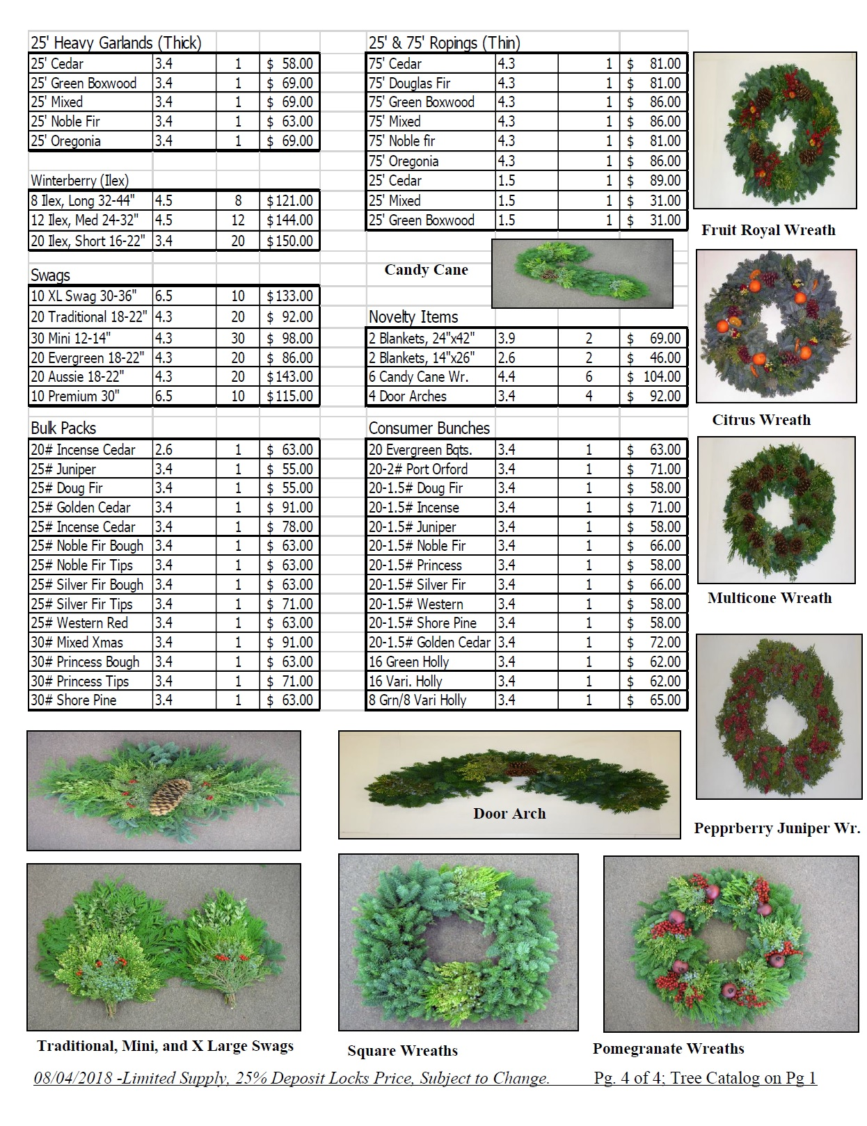 wholesale wreath pricelist noble 2018