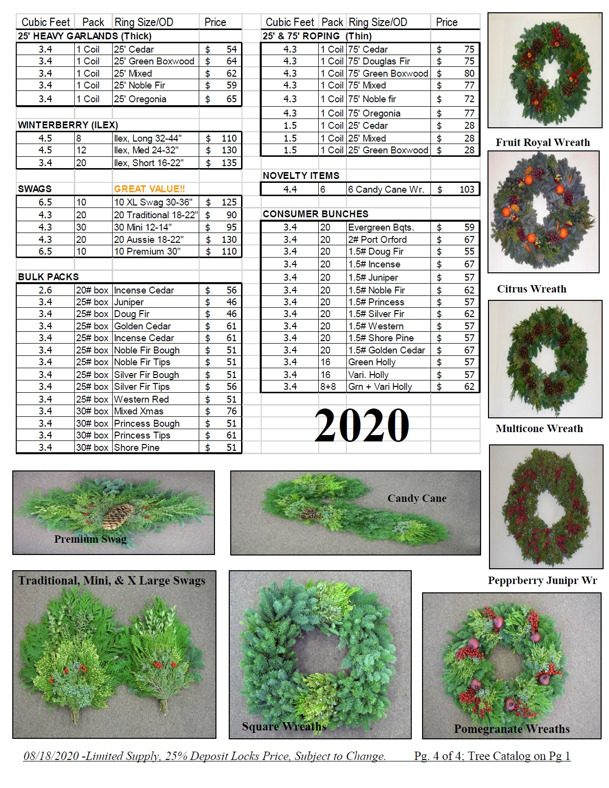 wholesale western wreath pricelist