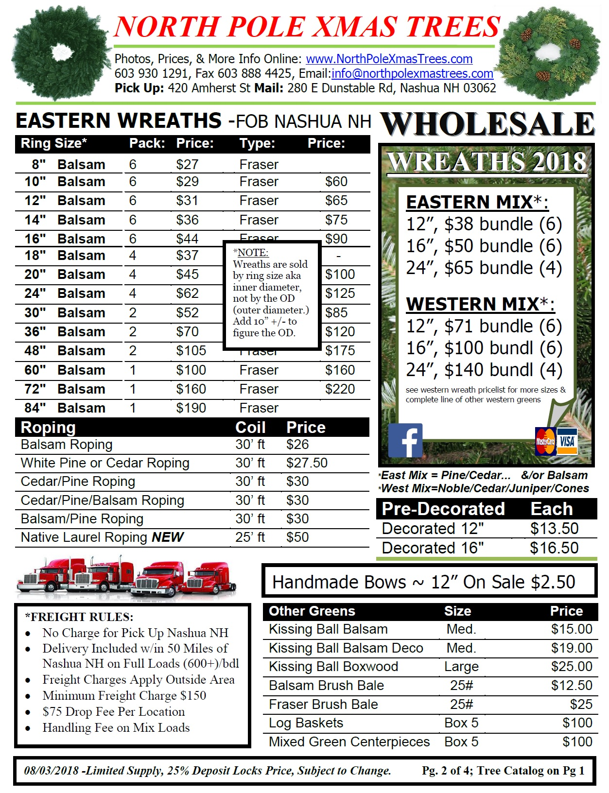 Wholesale Balsam Wreath Price list 2018