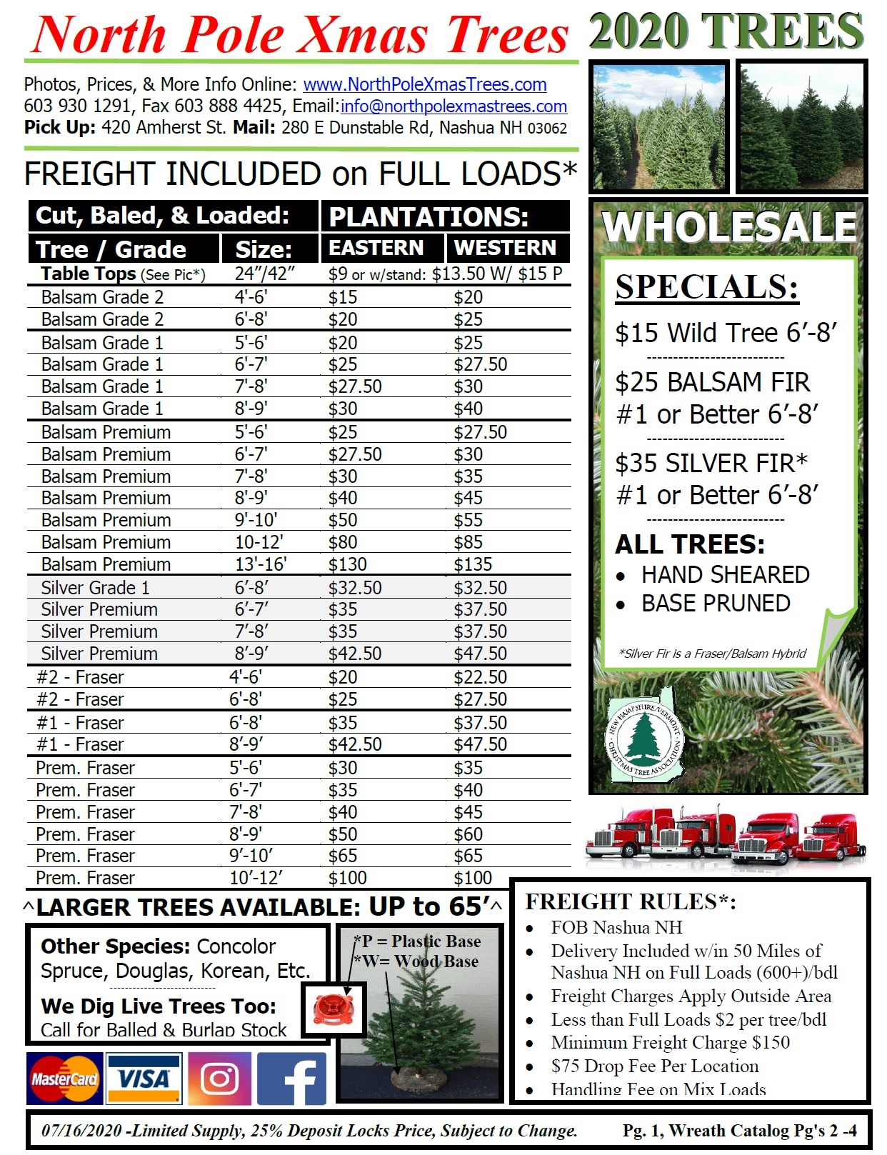 Wholesale Christmas Tree Price List