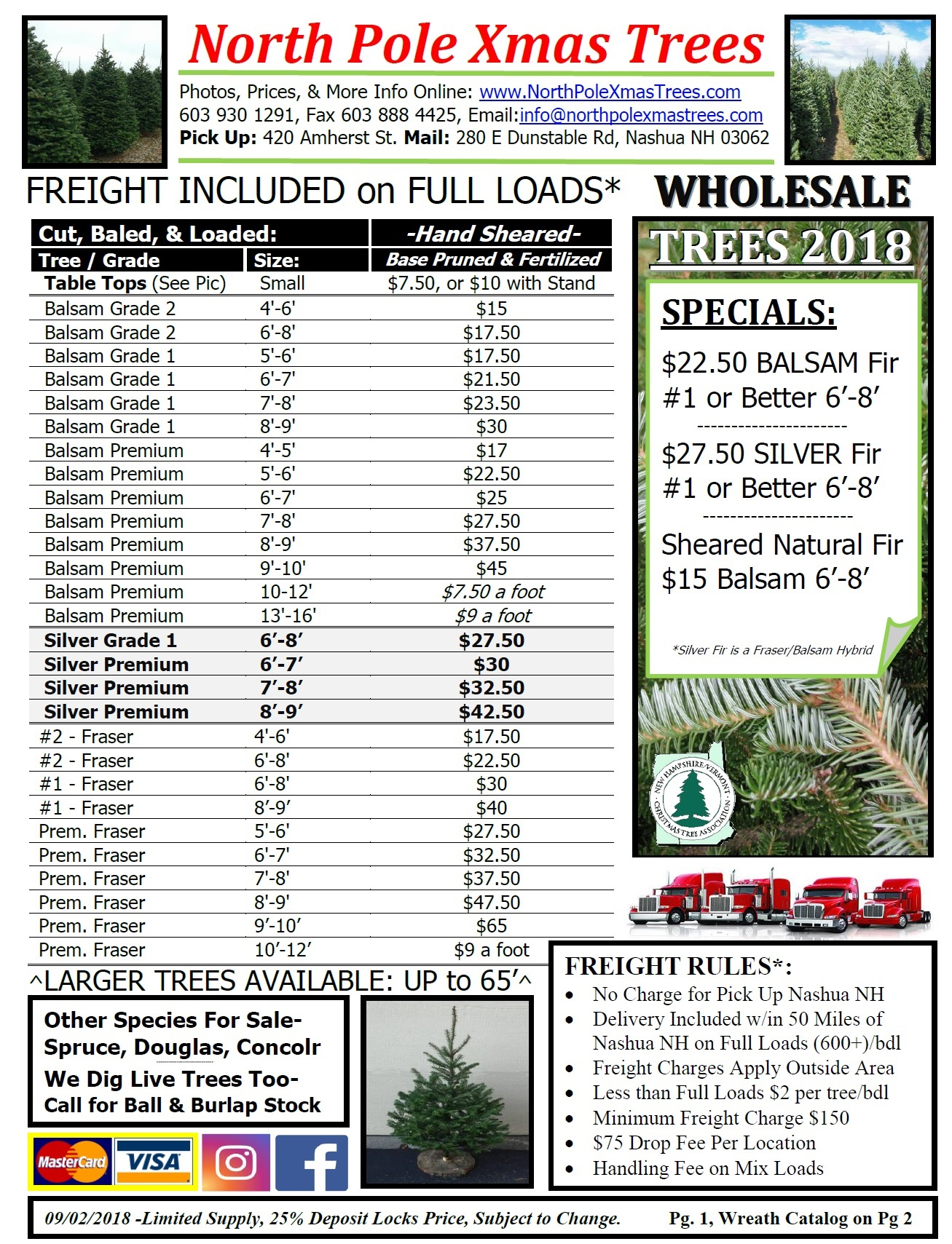 Wholesale 2018 Christmas Tree Pricelist